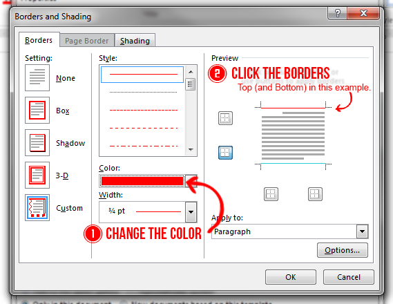 Borders and Shading Dialog Box