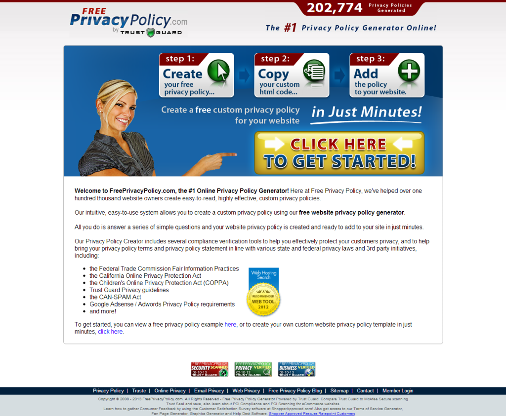 Free Privacy Policy Generator by Trust Guard