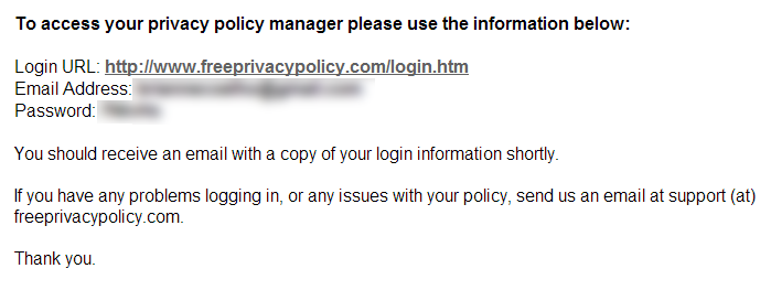 Free Privacy Policy Submission Successful