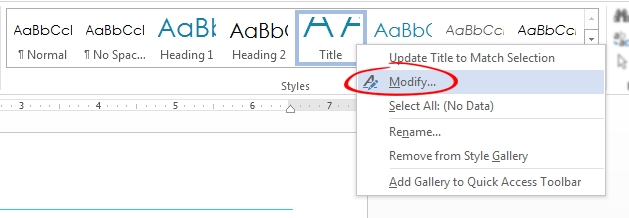 Modify Default Title Style: Styles > Right-Click > Modify