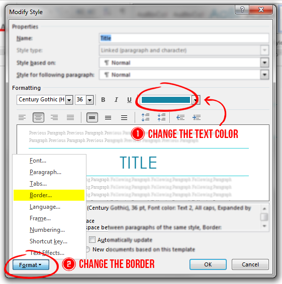 How To Change The Line Colors With The Default Title Style In