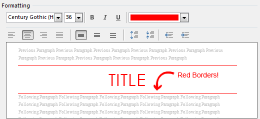 Red Borders in Title Style
