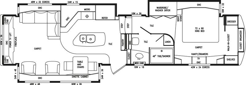 DRV Estates 39RESB Fifth Wheel RV Floorplan