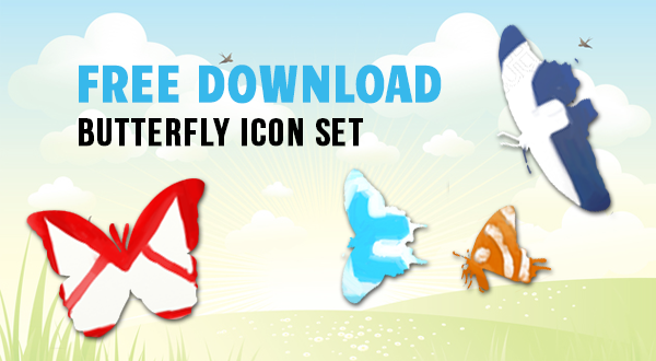 Freebie: 4 Butterfly Social Icons