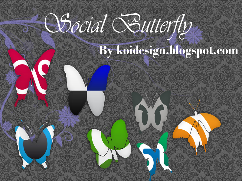 Social Butterfly Social Bookmark Icon Set by koidesign