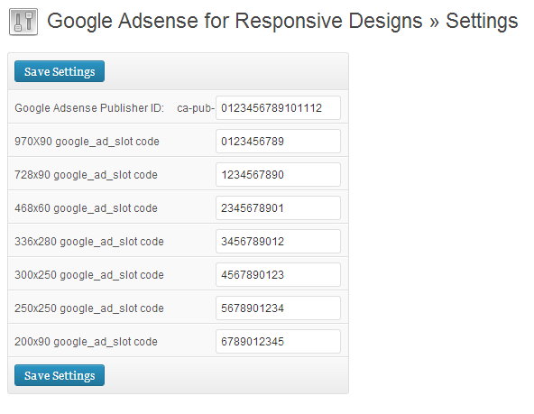 Google Adsense for Responsive Designs Settings